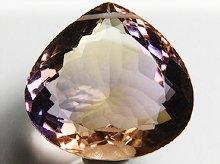 宝石質ボリビア産天然アメトリン|双晶+左水晶|大粒ファセットカット|16.8mm 18ct No.7