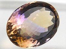 宝石質ボリビア産天然アメトリン|双晶+右水晶|大粒ファセットカット|19mm 17.5ct No.8