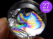 双晶|高品質レインボー水晶玉 27.6mm No.83|天然スパイラル水晶