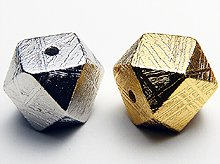 ギベオン隕石ベクトル平衡体カット|10mm|シルバー・ゴールド各色|粒売りビーズ