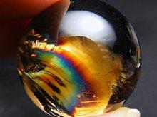 最上級レインボースモーキークォーツ|右水晶|丸玉 28.5mm|No.1