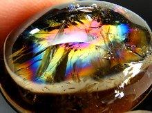 天然レインボー水晶(ライトスモーキー)|右水晶|カボション 26mm 10g|No.5