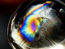 天然レインボー水晶(ライトスモーキー)|右水晶|カボション 33.5mm 15.9g|No.8