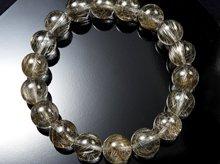 宝石質シルバールチルクォーツ|双晶 11mm玉|スパイラル水晶|左右兼用ブレスレット