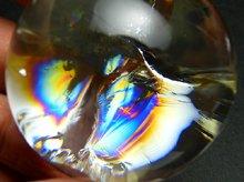 最上級レインボーシトリン(エンジェルラダー入り)|左水晶|丸玉 40mm|No.24