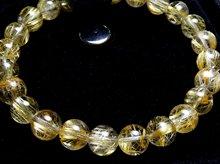 タイチン入り高品質ゴールドルチルクォーツ|左水晶 7.5mm玉|スパイラル水晶|左手用ブレスレット No.1