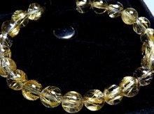 タイチン入り宝石質ゴールドルチルクォーツ|左水晶 8mm玉|スパイラル水晶|左手用ブレスレット No.2