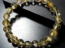 宝石質ゴールドルチルクォーツ|双晶 8mm玉|天然スパイラル水晶|左右兼用ブレスレット No.5