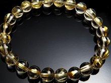 宝石質タイチンルチルクォーツ|右水晶 8mm玉|スパイラル水晶|右手用ブレスレット No.3