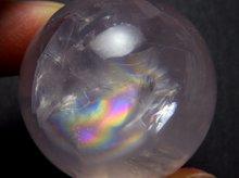 虹入りスターローズクォーツ|左水晶|丸玉 33.5mm|マダガスカル産|No.2