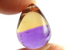 宝石質天然アメトリン 右水晶+双晶 ボリビア産 大粒ドロップビーズ 17.8mm 20.6ct No.3