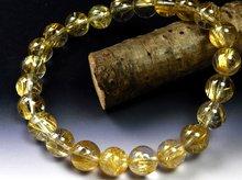 高品質ゴールドルチルクォーツ|双晶 8mm玉|スパイラル水晶|左右兼用ブレスレット No.6