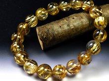 宝石質タイチンゴールドルチルクォーツ|双晶 10mm玉|天然スパイラル水晶|左右兼用ブレスレット No.7