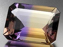 宝石質天然アメトリン|ボリビア産|ファセットカット|15.3mm 9.5ct No.10