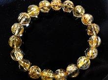 宝石質タイチンゴールドルチルクォーツ|右水晶 10mm玉|天然スパイラル水晶|右手用ブレスレット No.8