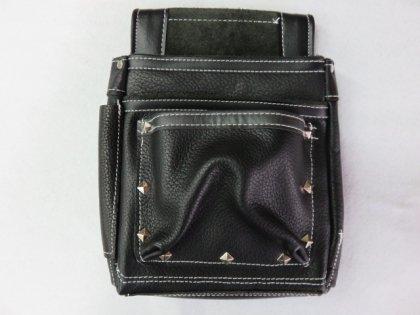国産本牛革 釘袋 底部4重構造 黒 S−1K