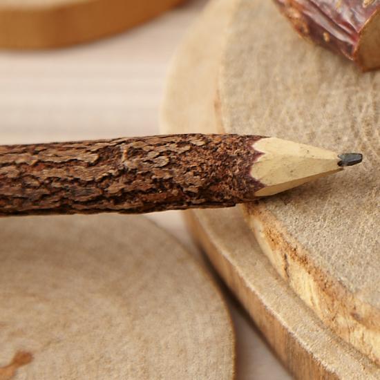 小枝鉛筆 ウッドえんぴつ  木のままエンピツ・18cm