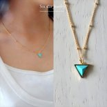 NEO ターコイズ トライアングル ネックレス 14KGF 16inches  [sea star Jewelry]
