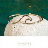 ウェーブ ゴールド 14KGF カフ バングル from ハワイ [Wave Jewelry by MS] 海外受注