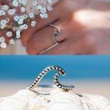 オーセンティック ウェーブ シェイプ シルバー リング [Ocean inspired handmade jewelry] 海外受注