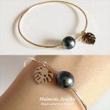 タヒチアンパール モンステラ バングル 14KGF / S925 / 14KRGF [ Maimoda Jewelry / マイモダジュエリー ハワイ] [海外受注] (B380)