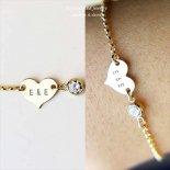ハートにダブルイニシャル刻印 & キラキラCZ ブレスレット [E&E Personalized Jewelry] 海外受注