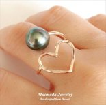 タヒチアンパール & オープンハート ラップ リング [ Maimoda Jewelry / マイモダジュエリー ハワイ] [海外受注](R185)