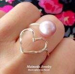ピンクEdisonパール & オープンハート ラップ リング [ Maimoda Jewelry / マイモダジュエリー ハワイ] [海外受注](R186)
