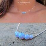 レインボー ブルー オパール 5粒 ネックレス [M. Customized Jewelry] 海外受注
