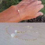 レインボー ホワイト オパール 1粒 ブレスレット [M. Customized Jewelry] 海外受注