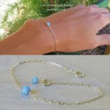 レインボー ブルー オパール 1粒 ブレスレット [M. Customized Jewelry] 海外受注