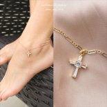 Cubic zirconia Cross(十字架) ゴールド アンクレット [Customized Jewelry / カスタマイズ ジュエリー] 海外受注