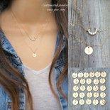 [2本セット] 選べるイニシャル きらきら クレッセント CZ ゴールド レイヤード ネックレス [Customize Jewelry / カスタマイズ ジュエリー] 海外受注