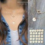 [2本セット] 選べるイニシャル きらきら シャムロック CZ ゴールド レイヤード ネックレス [Customize Jewelry / カスタマイズ ジュエリー] 海外受注