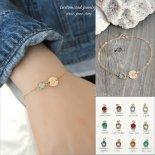 選べるイニシャル & 誕生石 ゴールド ブレスレット [Customize Jewelry / カスタマイズ ジュエリー] 海外受注