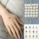 選べるイニシャル & 誕生石 フィンガースリング ゴールド ブレスレット [Customize Jewelry / カスタマイズ ジュエリー] 海外受注
