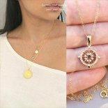 きらきらCZ 聖なるコンパスNEO ゴールド ネックレス 選べるチェーン [Customized Jewelry / カスタマイズ ジュエリー] 海外受注