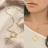 トグルクラスプ きらきらCZ 聖なるコンパスNEO ゴールド ネックレス [Customize Jewelry / カスタマイズ ジュエリー] 海外受注
