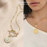 トグルクラスプ Virtute Tva Fiat Pax コイン(10mm) ゴールド ネックレス [Customize Jewelry / カスタマイズ ジュエリー] 海外受注