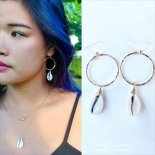 Cowrie shell マーメイド フープ ピアス [Beach Chic Jewelry Honolulu Hawaii] 海外受注