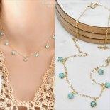 ターコイズ マルチ ストーン ゴールド ネックレス [Customized Jewelry / カスタマイズ ジュエリー] 海外受注