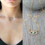 イービルアイ ターコイズ CZ ゴールド ネックレス [Customized Jewelry / カスタマイズ ジュエリー] 海外受注
