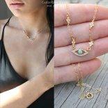 イービルアイ ターコイズ CZ ゴールド DX ネックレス [Customized Jewelry / カスタマイズ ジュエリー] 海外受注
