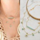 [2本セット] ターコイズ バー & スターバースト ゴールド レイヤード ネックレス  [Customized Jewelry / カスタマイズ ジュエリー] 海外受注