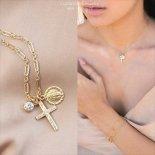 きらきらCZ 聖なるクロス & コイン ゴールド ネックレス 選べるチェーン [Customized Jewelry / カスタマイズ ジュエリー] 海外受注
