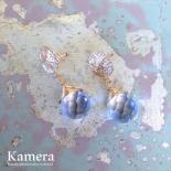 アクアクリスタルドロップ サンドダラー ピアス 14KGF  [ Kamera Jewelry / カメラジュエリー ハワイ ]