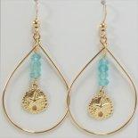 ビーチ サンドダラー オーバル 14KGF ピアス [Hana Lima Handcrafted Jewelry from MAUI]