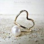 ホワイト パール ハート ラップ プレミアム リング ゴールド [ Pukoa Pacific Pearls / ハワイ ] [海外受注]
