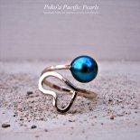 ブルー パール ハート ラップ プレミアム リング ゴールド [ Pukoa Pacific Pearls / ハワイ ] [海外受注]