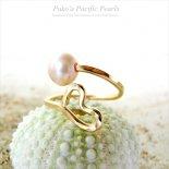 ピンク パール ハート ラップ プレミアム リング ゴールド [ Pukoa Pacific Pearls / ハワイ ] [海外受注]